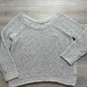 Free People Beige / Grey Chunky Knit Scoop Neck Sweater